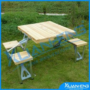 スムーズなTop Wooden Surface Folding TableおよびBench