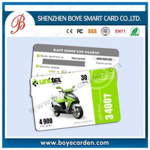 Rasque de plástico para la recarga de tarjetas telefónicas prepagadas