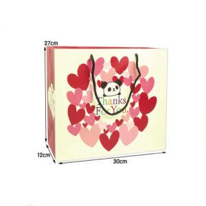 도매 관례는 면 손잡이를 가진 종이 봉지 쇼핑 선물 부대를 인쇄했다