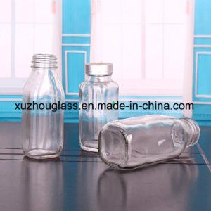 300ml丸型金属のふたDh017が付いているガラスジュースのびん