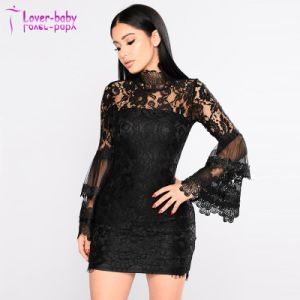 De alta calidad de la moda de verano barroco negro vestido de encaje