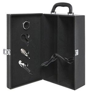 Cassa superiore nera moderna dell'elemento portante del vino di corsa della maniglia delle 2 bottiglie con l'insieme dell'accessorio del vino delle 4 parti