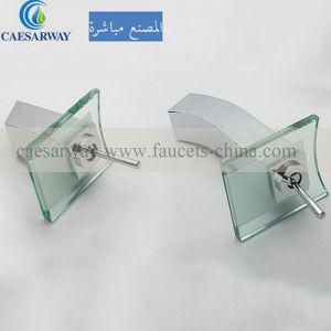 Cuenca cascada grifo mezclador de vidrio con LED.
