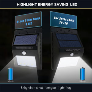 À prova de IP65 20 Activada por LED de luz do Sensor Solar