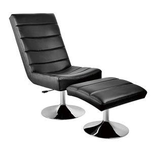 方法オットマン(FS-T6102)が付いている古典的な黒い革バルセロナの椅子
