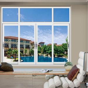 Gran Ventana corrediza de aluminio negro con malla de ventana deslizante