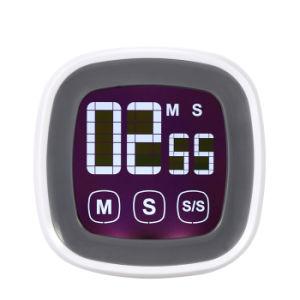 LCDデジタルのタッチ画面の台所タイマーのツールを調理する目覚し時計の台所小道具の上の実用的な調理のタイマーの秒読みのカウント