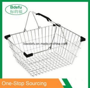 Armazenamento de supermercado portátil de malha de arame cesto de compras