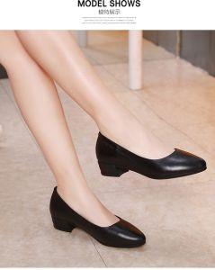 Otoño 2017 zapatos de cuero para mujer vestido de dama zapato tacón 3.0cm 35-40 Formal de cuero de vaca de alta calidad