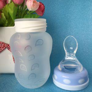BPAは広い首の圧搾のシリコーンの赤ん坊の挿入びんのスプーンを放す