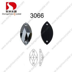 De in het groot Stenen Zwarte Diomand van het Kristal van het Glas Navette van 9*18mm naaien op Stenen voor Schoenen