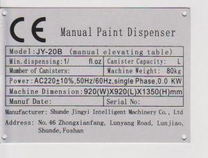 De hand Automaat van de Verf (jy-20B4)