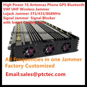 Hoge Macht 16 GPS Bluetooth VHF van de Telefoon van Kanalen UHFStoorzender, Lojack de Stoorzender van het Signaal van de Stoorzender 315/433/868MHz