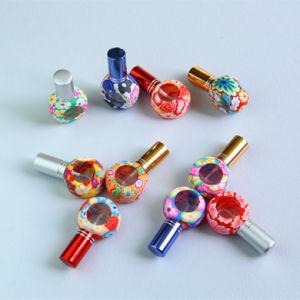 Nuevo 8ml tapa de vidrio de color impresión Perfume recargables Spray Spray de botellas vacías de vidrio de botella de la rueda de contenedor de cosméticos para los viajes
