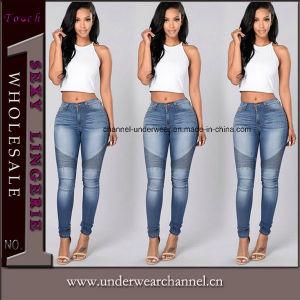 La mujer Casual destruido copiando angustiados Skinny Algodón Denim Jeans