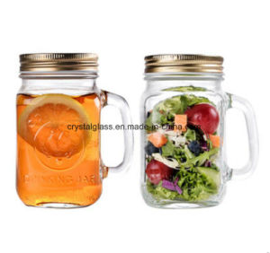 Logotipo personalizado garrafa de vidro Mason Jar com palha