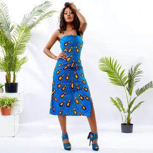 African Peacock cire crayon sans manches d'impression Split Ankara robe de fête