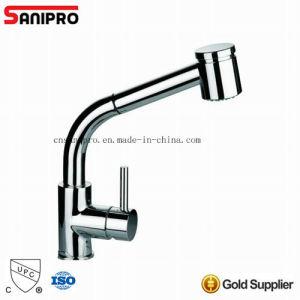Saniproのクロムめっきの単一のレバーの台所真鍮の蛇口はとのとのUpcの口を引き出す