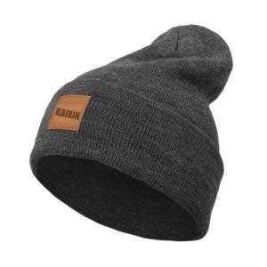 Comercio al por mayor parche de cuero liso tejido Beanie Hat