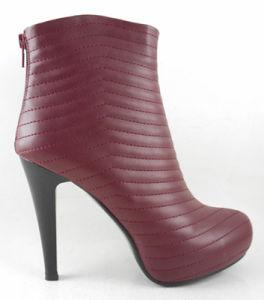 2015 Lady Chaussures femmes sexy de la cheville de la pompe à haut talon Stiletto Bootie avec motif hachuré Dard plate-forme de couleur rouge