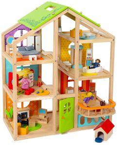 Armario de ropa de casa de muñecas de madera juguete Juguetes juego de aparentar