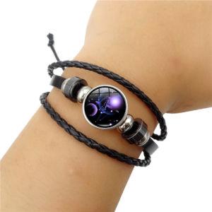 De zwarte Armband van het Leer van het Weefsel Multilayer
