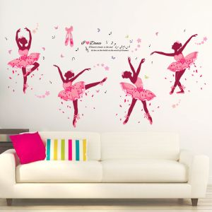 Vinyle amovibles Ballet Girl muraux TV mur de fond l'autocollant