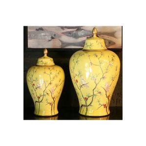 Vaso de porcelana pintadas de antiguidades chinesas com tampa Lj-152