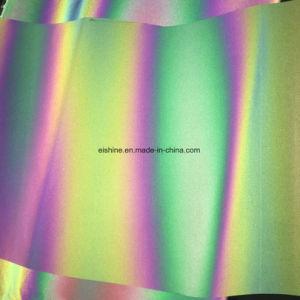 E-glans Kleur 100% van de Regenboog Stof van de Band van de Regenboog van de Polyester de Weerspiegelende voor Kleren