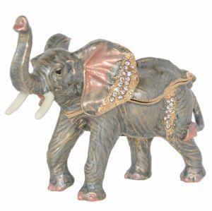 Elefante esmaltadas Trinket & Caixa de jóias Elephant Figurine novidade coleccionáveis presentes colar o recipiente do anel de suporte