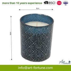 Vela Perfumada de vidro com adesivo de papel e para a parte