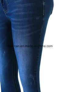 2018年のヨーロッパ様式の細く青いデニムの在庫の女性の女性ジーンズの上デザイン