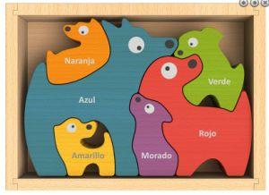 Hundefamilien-klumpiges hölzernes Puzzlespiel