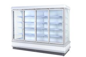 Supermarché porte en verre vertical vitrine réfrigérée Multideck Chiller de sueur libre