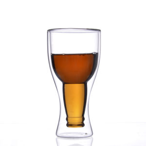 Tazza a doppia parete libera di vetro di birra, tazze di vetro della tazza di birra