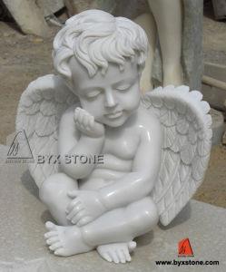 Witte Marmeren Steen Weinig Beeldhouwwerk van de Engel voor Decoratie