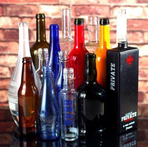 De Fles van het glas, de Fles van de Alcoholische drank, de Fles van de Wijn, de Fles van de Wodka, de Fles van de Wisky