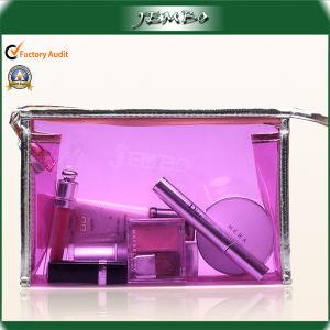 透過紫色の革端旅行袋の化粧品袋