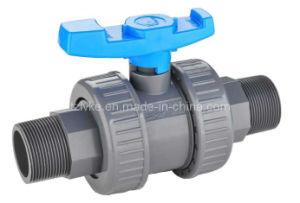 PVC plástico UPVC racor doble válvula de bola/válvula de agua/piscina/Válvula Válvula de control para el suministro de agua estándar DIN.