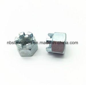 DIN935 l'écrou crénelé hexagonal avec blanc plaqué zinc Cr3+ M12