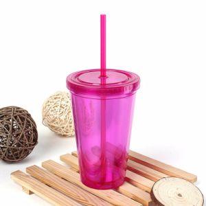 二重壁のプラスチック飲料のわらタンブラーによって絶縁されるジュースのマグ