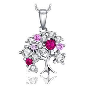 925 Joyería de Plata colgante, collar de joyas de moda con circón Color Mayorista de Boda