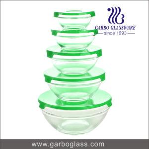 색깔 뚜껑 (GB1408U)를 가진 멀티라인 디자인으로 놓이는 고품질 5PCS 유리 그릇
