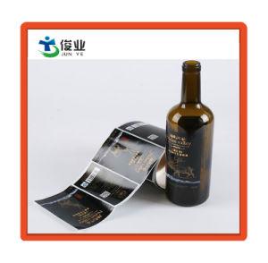 Pegatina brillante personalizado con Hot Stamping de oro para el envase de botella