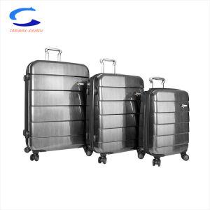 China 20 de metal gris plata brillo PC ABS compuesto de hojas Bastidor ligero de llevar la maleta de viaje 2528 el mecanismo de giro de bloqueo de la TSA Equipaje Carro Juegos de 3 piezas