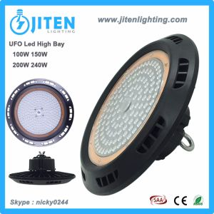 Diseño compacto de UFO 150W LED de luz de la Bahía de industriales de alta