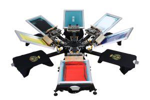 Torchio tipografico di seta dello schermo della maglietta delle stazioni di colore 6 di Ns606-Mr 6