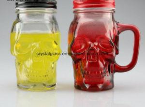 commercio all'ingrosso a forma di del vaso di vetro bevente del vaso di muratore del cranio variopinto del coperchio del metallo 16oz