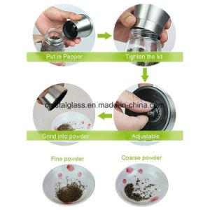 Gewürz-Schleifer mit justierbarem keramischem Rauheit-Schleifer und Glaskarosserie