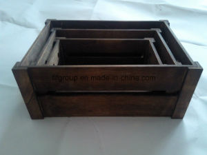 Contenitore di legno di grande di formato dell'estremità superiore dell'oggetto d'antiquariato cassa di legno di rifinitura nei formati differenti